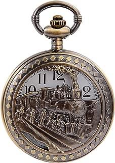 Vintage Bronze Steam Train Mens Kids Quartz Pendant Pocket Watch with Chain