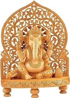 Truesellershop Vintage Handcrafted Wooden Ganesh Statue Handmade Hindu God Home Gifts 12