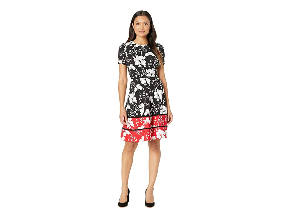 Taylor Floral Short Sleeve Color Block Fit and Flare Dress (Black/Ivory/Red) Women