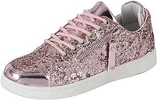 Cambridge Select Women's Low Top Glitter Lace-Up Fashion Sneaker