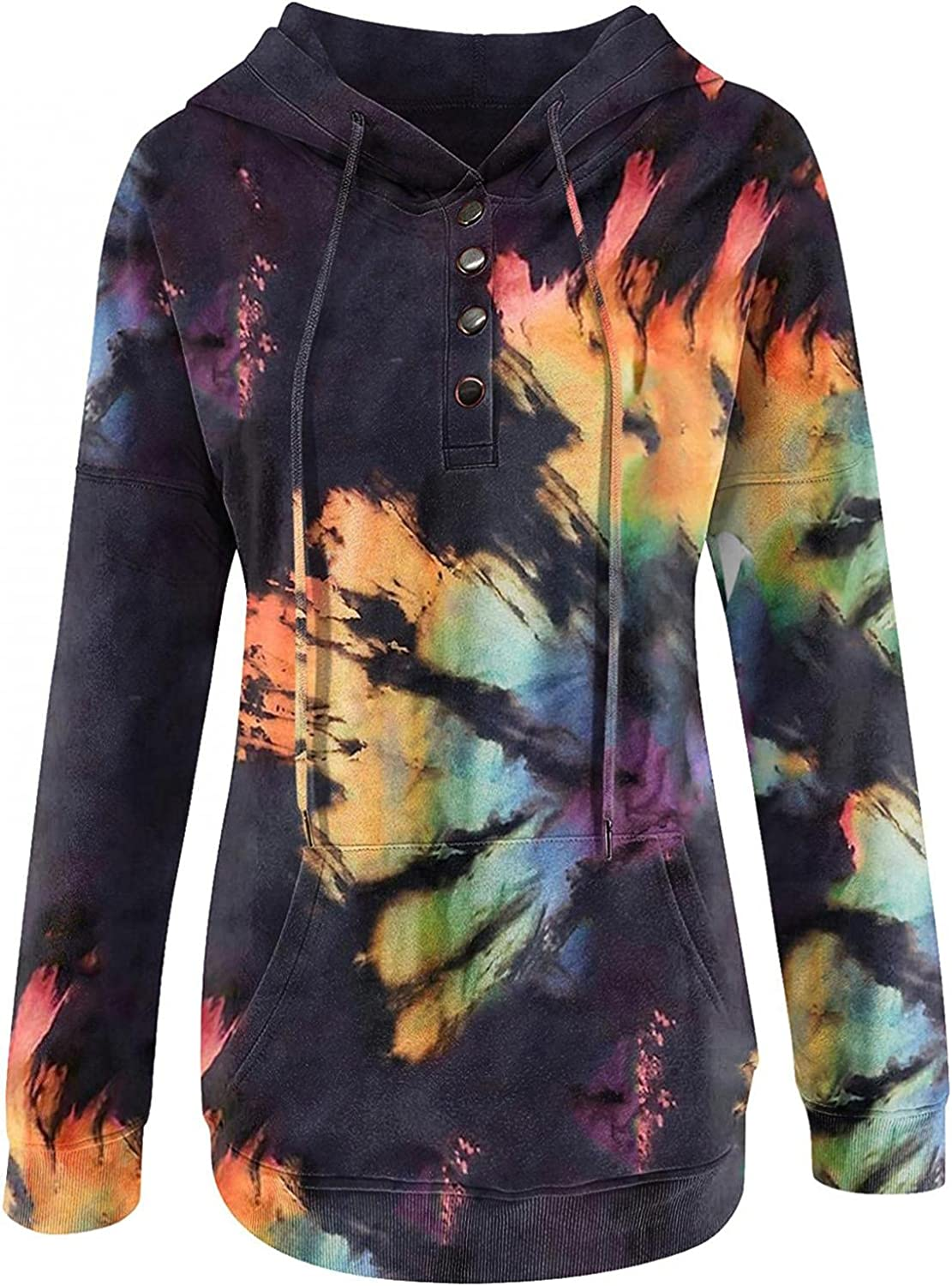 POLLYANNA KEONG Hoodies for Women Fashion Tie Dye Long Sleeve Sweatshirts Letter Graphic Loose Tops Blouses