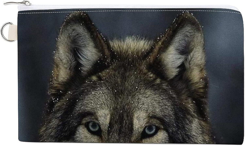 White Snow Wolf Women's Canvas Coin Purse Change Pouch Zip Wallet Bag