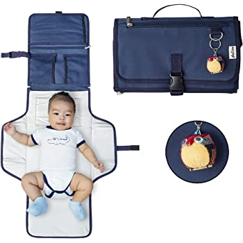 Diaper Clutch, Portable Diaper Changing Pad, Waterproof Travel Changing Station, Baby Essentials for Traveling, Baby Shower Gift - Navy