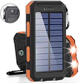 ソーラーバッテリーモバイルバッテリー 大容量23000mAh充電器 急速充電対応 二個LEDランプ搭載 2USB出力ポート 太陽エネルギーパネル ソーラーチャージャ羅針盤が付き 電気量指示ランプ付き IP67完全防水 SOS発信 高輝度LED太陽光で充電 旅行/キャンプ/ハイキング/地震/災害/アウトドア活動などに大活躍Android/iPhone/iPad/ゲーム機/カメラ等に対応