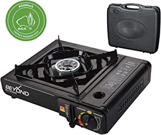 Portable Single Burner Cooker Gas Stove with Carrying Case, 7,600 BTU Lightweight, AGA Approved, Black Perfect for Camping, Outdoor Cooking, Home Emergency Kit, Hot Pot