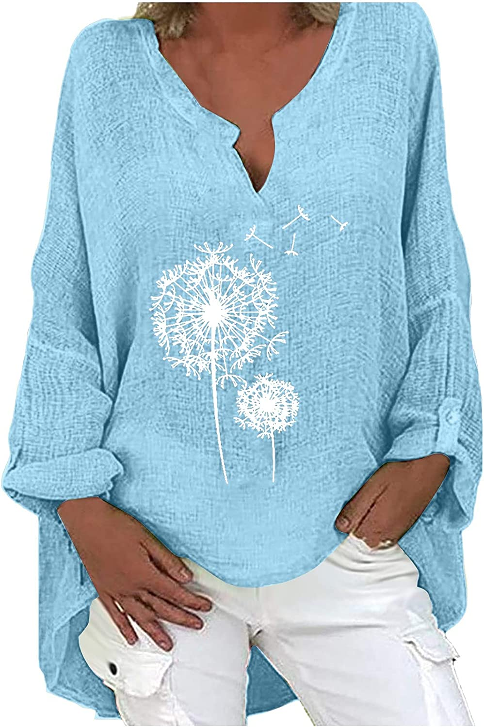 Women Plus Size Cute Graphic Tops Loose Printing Casual Tunic Long Sleeve V-Neck Shirts for Women