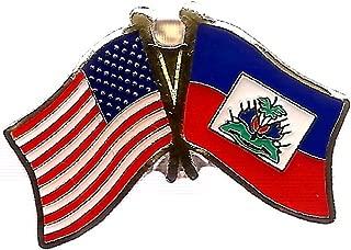 Pack of 3 Haiti & US Crossed Double Flag Lapel Pins, Haitian & American Friendship Pin Badge
