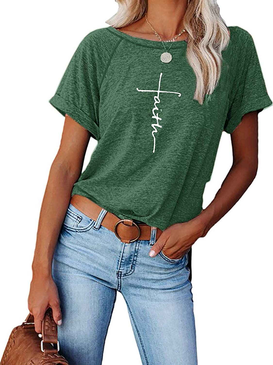 Womens Be Kind/Faith Graphic Short Sleeve T Shirts Cotton Casual Oversized Summer Crew Neck Tunic Top