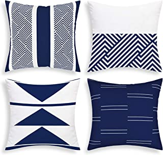 VERTKREA Throw Pillow Covers Modern Geometric Pillowcase Set of 4 Throw Cushion Cover for Bed Couch Sofa Office Decor (Blue, 16 × 16)