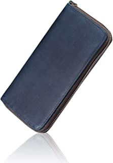 Genuine Leather RFID Blocking Large Capacity Vintage Long Wallet Card Holder With Zipper