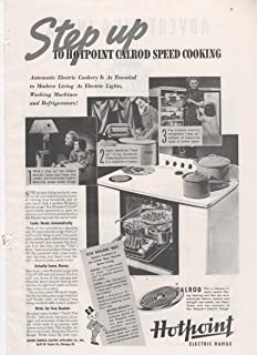 Hotpoint Electric Range Calrod Speed Cooking 1937 Vintage Antique Advertisement