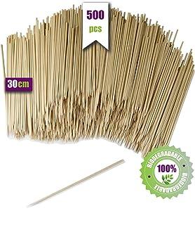 GoBeTree 500 Brochetas de Madera de 30 cm y Ø 3 mm de diámetro. Pinchos y Palos de Madera bambú para Parrillas, barbacoas, Carnes, Verduras. Palos de Madera para Manualidades.