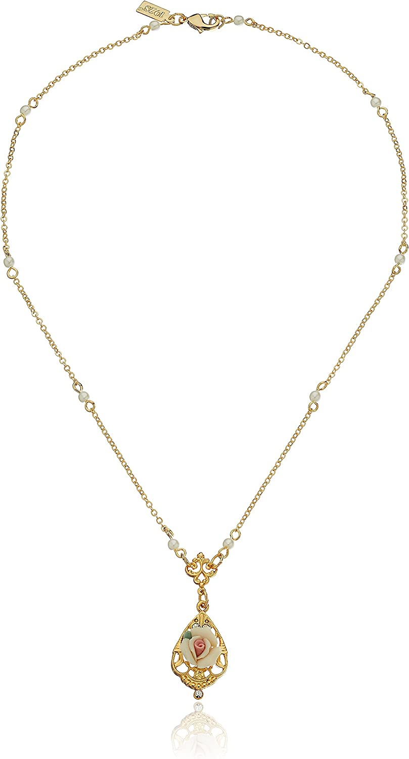 1928 Jewelry 14k Gold-Dipped Vintage-Inspired Porcelain Rose with Crystal Accent Necklace, 17
