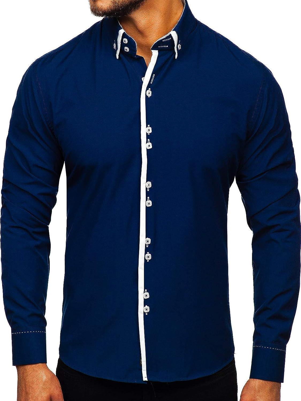 BOLF Hombre Camisa De Manga Larga Cuello Italiano Abotonada Camisa de Algodón versátil Camisa univeral Slim fit Shirt Ocio Outdoor Estilo Casual 2B2