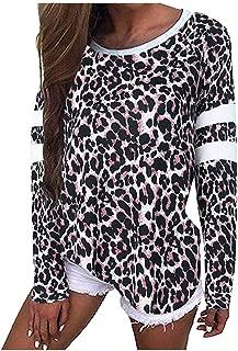 Fitfulvan Womens Leopard Print Baggy Long Sleeve Jumper Tops Casual Tee Shirt