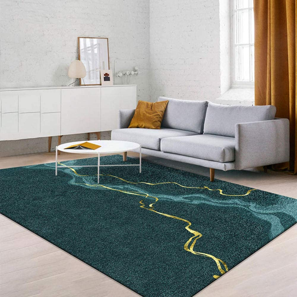 Cmwardrobe Modern Living Room Bedroom Area Rugs Abstract Art Design Turquoise Gold Carpet Large Home Floor Mat 1 4 2m Amazon Co Uk Kitchen Home