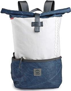 360° Grad Rucksack Lotse aus Segeltuch Unisex mit blauem Balken Segeltuch-tasche maritim, wetterfest
