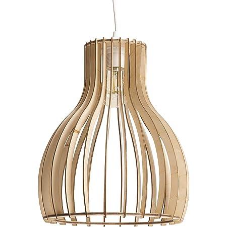 LUSSIOL Luminaire Helsinki S, suspension bois, 60 W, naturel, ø 28 x H 34 cm