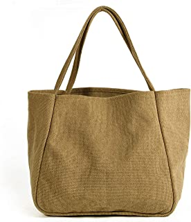 WUDON Canvas Tote Bags for Women - Top Handle Shoulder Tote, Large Space for Shopping, Working