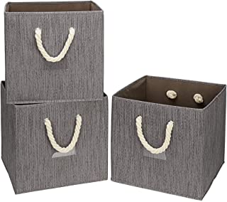 i BKGOO Lot de 3 bacs à cubes de rangement pliables Café Bambou Bambou Tissu Panier Boîte Organisateur avec poignée en cor...