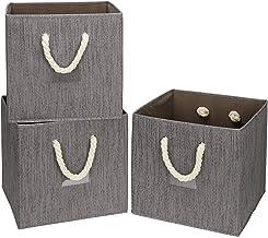 i BKGOO Składane pojemniki na kostki do przechowywania, 3 sztuki, tkanina bambusowa, składane, wytrzymałe pudełko z uchwyt...