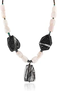 Native-Bay $200Tag Certified Silver Navajo Turquoise Snowflake Stone Pink Quartz Necklace 15800-22 Made by Loma Siiva