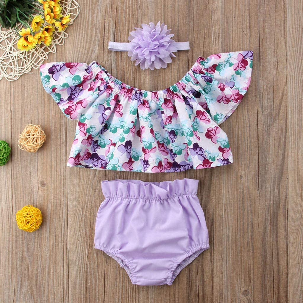 Fabal Toddler Baby Kid Girls Floral Tops Solid Short Pants Hairband Outfits Set