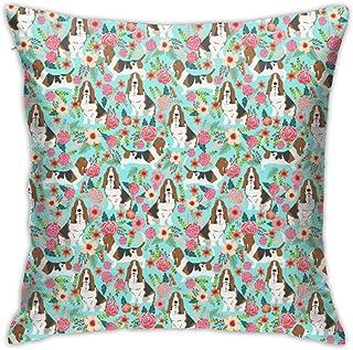 Basset Hound Florals Throw Pillow Cover 18X18, Double Side Design Bolster Pillowcase, Decorative Cushion Pillow Case for Car Sofa Theme Brithday Party Bedroom Decor Kid Girls Boys