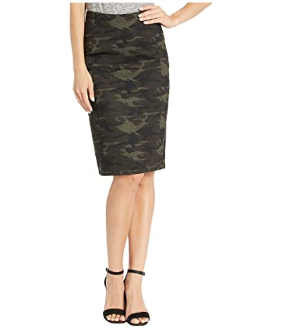 Liverpool Reese Pencil Skirt in Knit Camo (Olive/Brown) Women