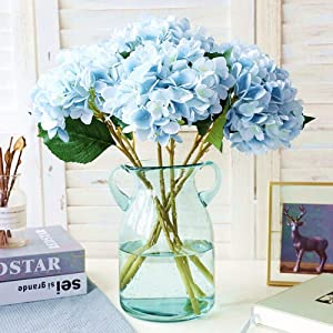 Jasion 3PCS Artificial Flowers Hydrangeas Flowers Silk Bouquet for Wedding Bridal Office Home Party Decoration (All Light Blue)