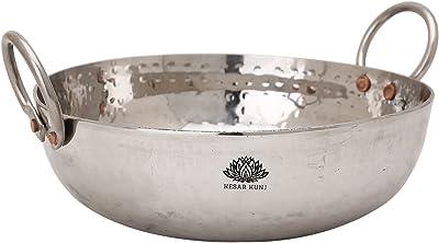 KESAR KUNJ Sandwich Bottom Heavy Guage Stainless Steel Kadhai Cookware, 2000 ML, 12 No.