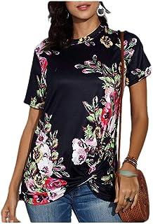 neveraway Women Short Sleeve Fashion Summer Floral Printed Blouse T-Shirt