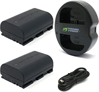 Wasabi Power LP-E6, LP-E6N Battery (2-Pack) & Dual USB Charger for Canon EOS 5D Mark II/III/IV, 5DS, 5DS R, 6D, 6D Mark II, 7D, 7D Mark II, 70D, 80D, 90D, R, R5, R6, Ra, XC10, XC15, BMPCC 4K, BMPCC 6K