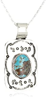 $265Tag Certified Nickel Kokopelli Navajo Natural Turquoise Native Necklace 12810-11 Made by Loma Siiva