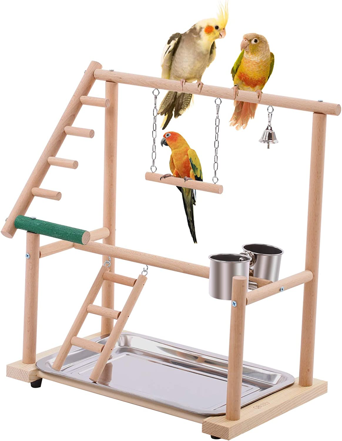 QBLEEV Bird Play Stand Parrots Playground Wooden Stick Perch,Bird Playpen Exercise Gym with Ladder Feeder Cup Bell Swing,Parrot Play Climb Gym for Parakeet Cockatiel Conure(Include a Tray) : Pet Supplies