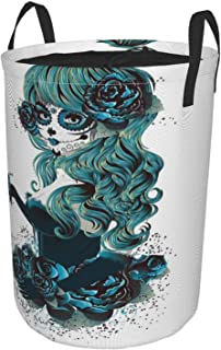 ZOMOY Grand Organiser Paniers pour Vêtements Stockage,Crâne Vintage Sugar Skull Girl Day Of The Dead Bride Roses couleur f...