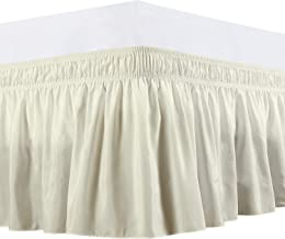 Wrap Around Bed Skirt -Polyester/Microfiber Elastic Dust Ruffle Three Fabric Sides Silky Soft & Wrinkle Free Classic Stylish Look in Your Bedroom by-Rajlinen(Ivory, Queen /18) by-Rajlinen