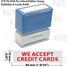 New JYP PA1040 Pre-Inked Rubber Stamp w. We Accept Credit Cards