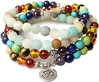 PWMENLK Jewelry,8MM Amazonite Healing 108 Prayer Mala Beads 7 Chakra Yoga Meditation Beaded Bracelet Necklace