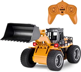 Flyglobal Remote Control Construction Vehicles RC Bulldozer Alloy Shovel Loader 2.4G RC Front Loader Remote Control Trucks 1/18 6 Channel 4WD Tractor RC Trucks Front End Loader Toy for Boys Kids Gifts