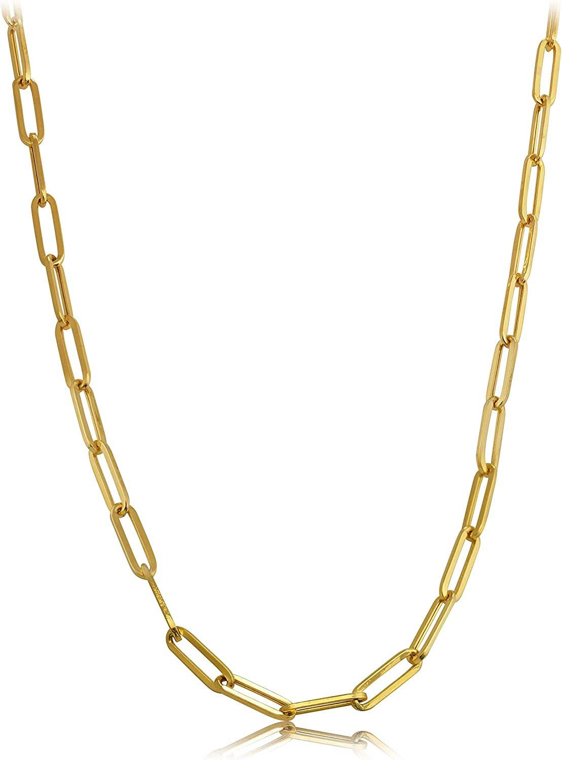 Excellent 14k Yellow Topics on TV Gold 4mm Link Clip Necklace Paper