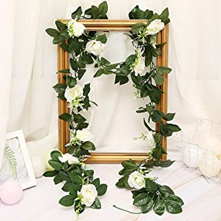 Artificial Flower Garland Decoration Hanging Fake Rose Vine Christmas Wreath for Home Hotel Office Wedding Party Garden Cr...