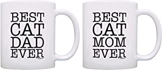 Cat Lover Gift Best Dog Mom Dad Ever Cat Owner Gift Bundle 2 Pack Gift Coffee Mugs Tea Cups White