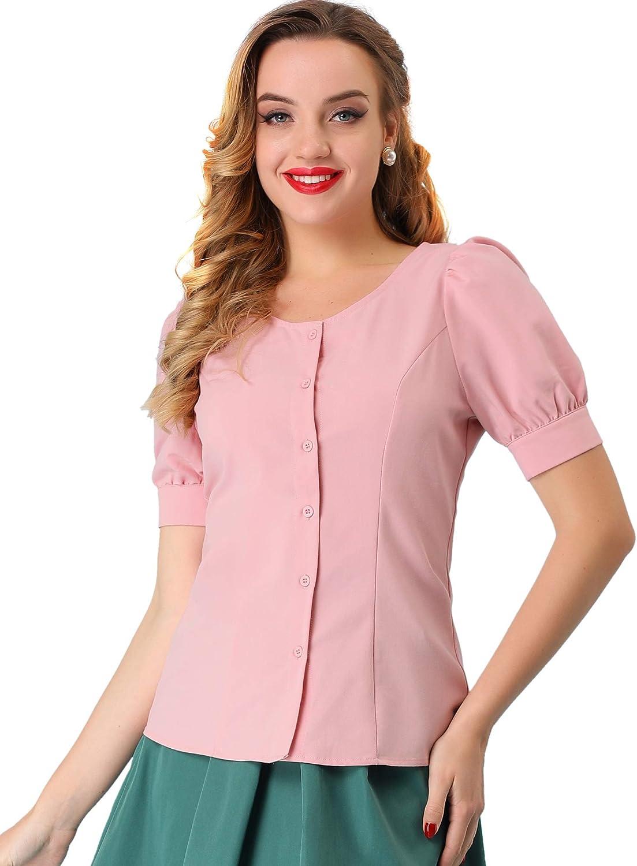 Allegra K Women's Retro Puff Sleeve Blouse Cotton Button Down Work Shirt