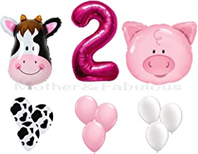 SECOND BIRTHDAY cow and pig baby girl party decoration with 12 ct pink balloons and 12 ct cow balloons and 12 ct white balloons and number