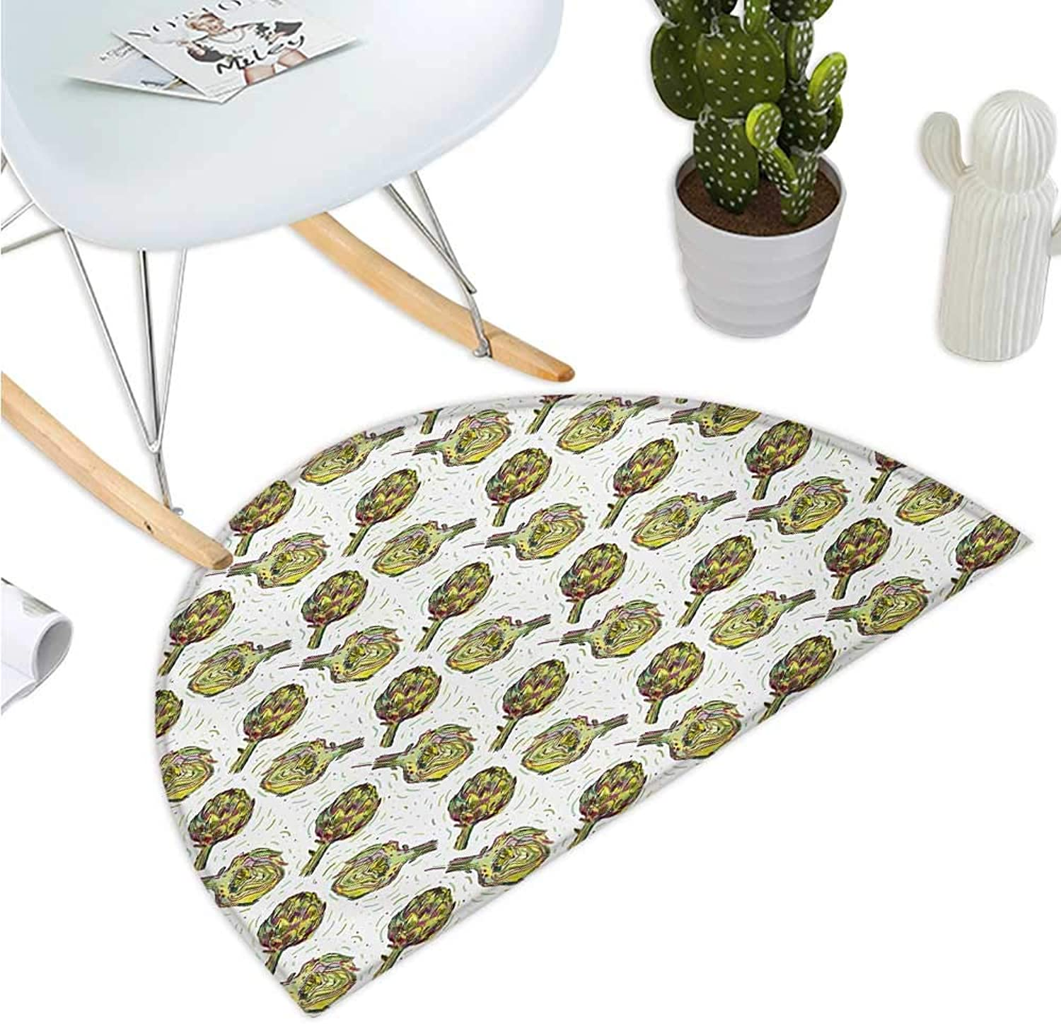 Artichoke Semicircular Cushion Gourmet Food Garden Harvest Vegetables Seasonal Vegetarian Options Bathroom Mat H 35.4  xD 53.1  Fern Green and Purple