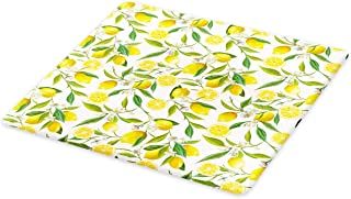 Ambesonne Nature Cutting Board, Exotic Lemon Tree Branches Yummy Delicious Kitchen Gardening Design, Decorative Tempered Glass Cutting and Serving Board, Large Size, Fern Green
