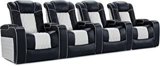 Valencia Tuscany Top Grain 11000 Nappa Leather Power Reclining, Lumbar, White Piping Home Theatre Seating (Row of 4)