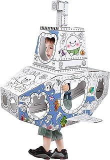 【在庫一掃】子供段ボールプレイ 手作り落書きゲームDIY着色絵画ゲーム 折りたたみ式塗り絵おもちゃ 知育玩具 秘密基地 男の子 女の子入園祝い ギフト 誕生日 サブマリン形