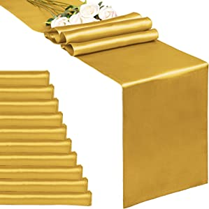 10-Pack Gold 12 x 108 inches Long Premium Satin Table Runner for Wedding, Decorations for Birthday Parties, Banquets, Graduations, Engagements, Table Runners fit Rectange and Round Table